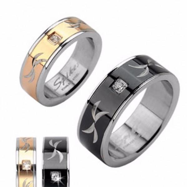 Herren Damen Ring gold schwarz 10 Größen Tribal