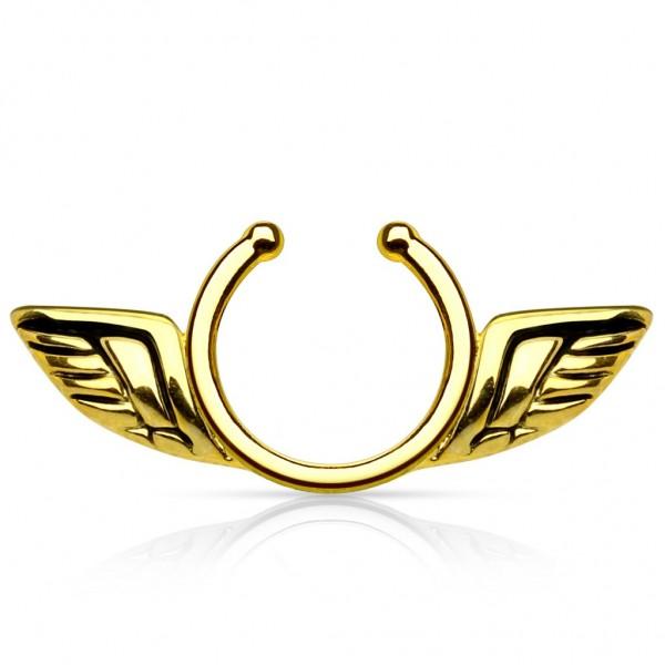 Clip On Brustwarzenpiercing Angel Wings Messing in 3 Farben