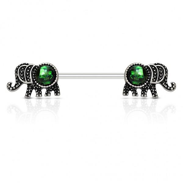 Brustwarzenpiercing Edelstahl Chirurgenstahl Elefant mit Opal in grün oder weiß