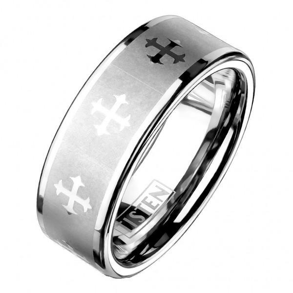 Tapsi´s Coolbodyart®| Fingerring Tisten Tungsten Titanlegierung Bandring Zentrum Gebürstet