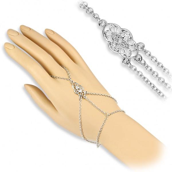 Coolbodyart Damen Armband Sklavenarmband Vintage Style mit klar Zirkonia Mess...