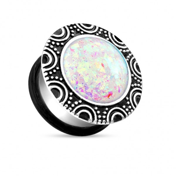 Coolbodyart Chirurgenstahl Single Flared Plug silber glitzernder Opal