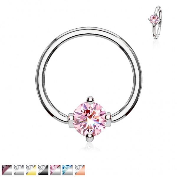 Tapsi´s Coolbodyart® Piercing Captive Ring Chirurgenstahl versch. Farben mit Zirkonia