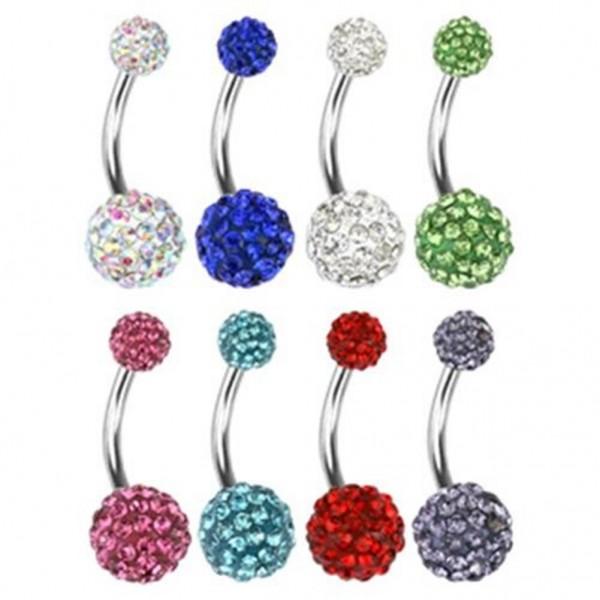 Bauchnabelpiercing Multi Ferido Kristalle in 7 Farben