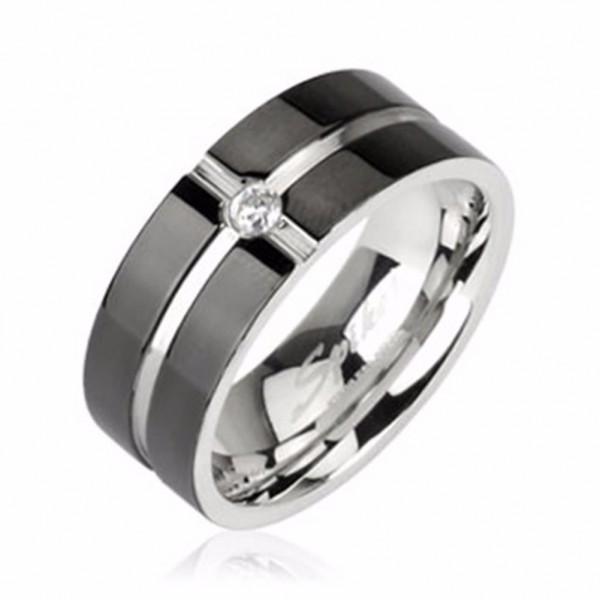 Herren Damen Ring Fingerring silber schwarz Zirkonia Edelstahl