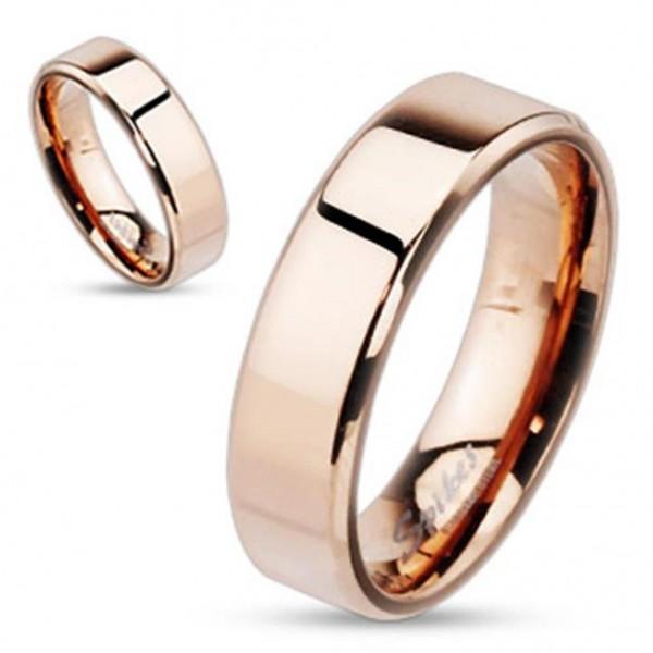 "Edelstahl Herren Damen Ring rosè gold ""Flat Band"""