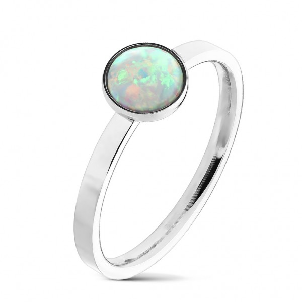 Tapsi´s Coolbodyart® Fingerring Edelstahl silber mit weißem Opal