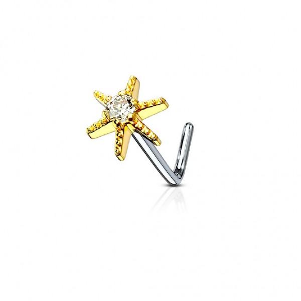Tapsi´s Coolbodyart®| Nasenpiercing L Stecker Gebogen Chirurgenstahl 316L Silber,Gold,RoséGold 6mm Z