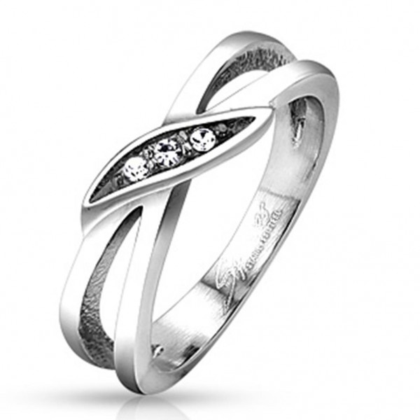 Edelstahl Ring silber 5,7mm breit Marquise mit Steinen 47 (15) - 57 (18)