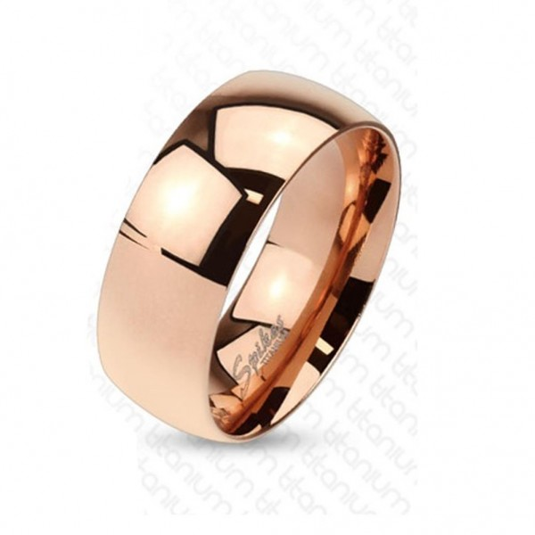 Titan Ring roségold 8mm breit Classic Line Band 60 (19) - 72 (23)