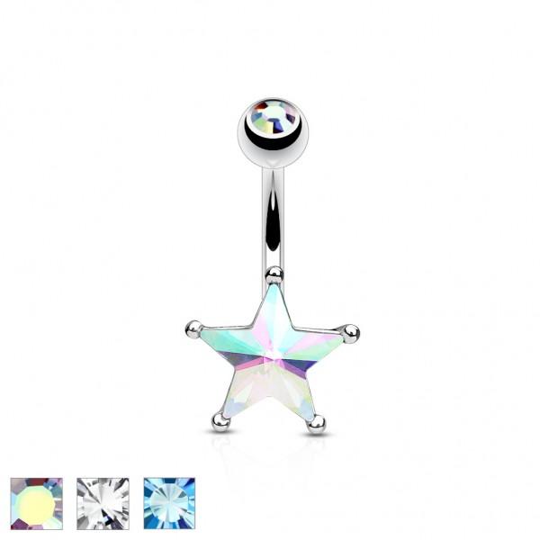 Tapsi´s Coolbodyart® Bauchnabelpiercg Chirurgenstahl 316L mit Kristallen besetzter Stern