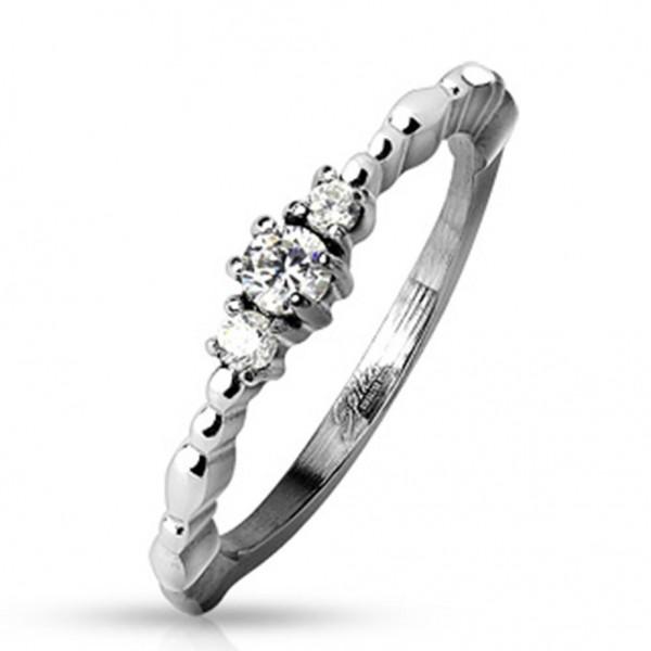 Edelstahl Ring silber 2mm breit Perlenform und Steine 47 (15) - 57 (18)