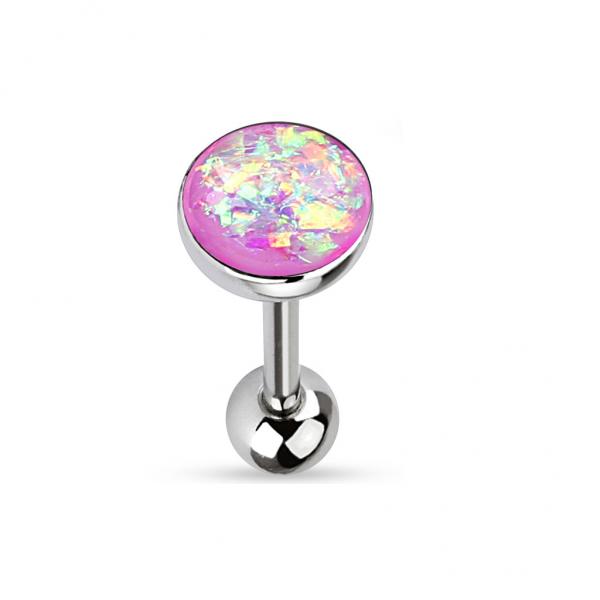 Zungen Piercing Stab Edelstahl Chirurgenstahl 316L 16mm Opal Verschiedene Farben