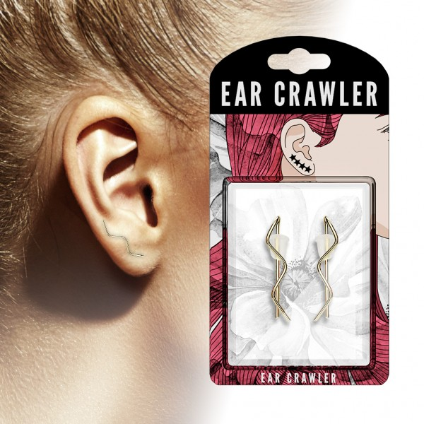 Ear-Crawler Ohrklemme aus Messing rhodiniert , in gold, roségold, stahl-silber