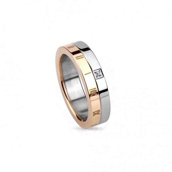 Titan Ring silber 5mm breit Römische Ziffern rosé und Steine 47 (15) - 57 (18)