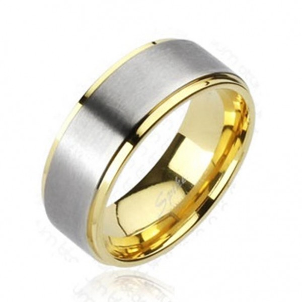 Titan Solid Titanium Unisex Ring silber gold gebürstetem Center