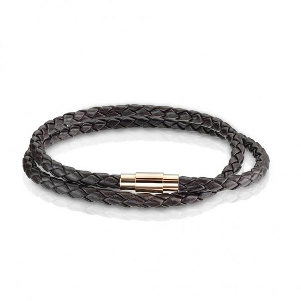 Tapsi´s Coolbodyart®| Doppel Armband Leder Schnüre Dunkelbraun Geflochten Magnetverschluß