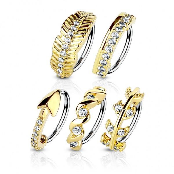 Tapsi´s Coolbodyart®| Nasenpiercing Hoop Ring Chirurgenstahl 316L Gold Länge 8mm Stärke 0,8mm/1mm Zi