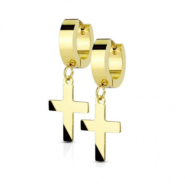 Ohrstecker, Ohrring Edelstahl gold,silber,schwarz,roségold mit Anhänger Kreuz