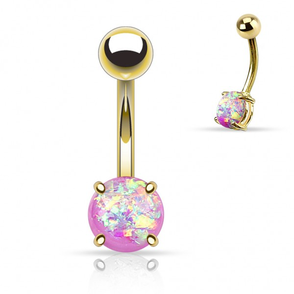 Bauchnabelpiercing Edelstahl Chirurgenstahl 316L Glitter Opal Prong Set Versch.Farben