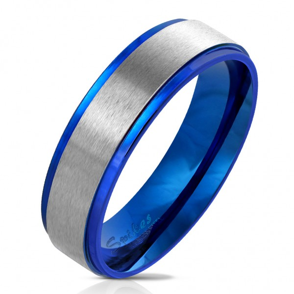 Fingerring aus Edelstahl in blau mit gebürstetem Edelstahl-Zentrum versch Größen