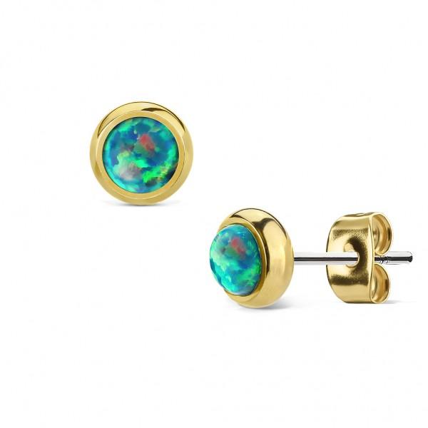 Ohrstecker Chirurgenstahl gold, mit Opal in grün,blau,weiß,pink,rot,purple