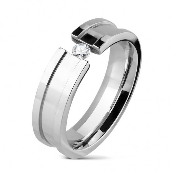 Damen Ring silber Zirkonia 9 Größen Edelstahl