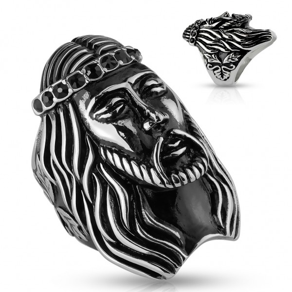 Siegelring aus Edelstahl in silber-schwarz mit Jesus-Kopf und Zirkonia schwarz