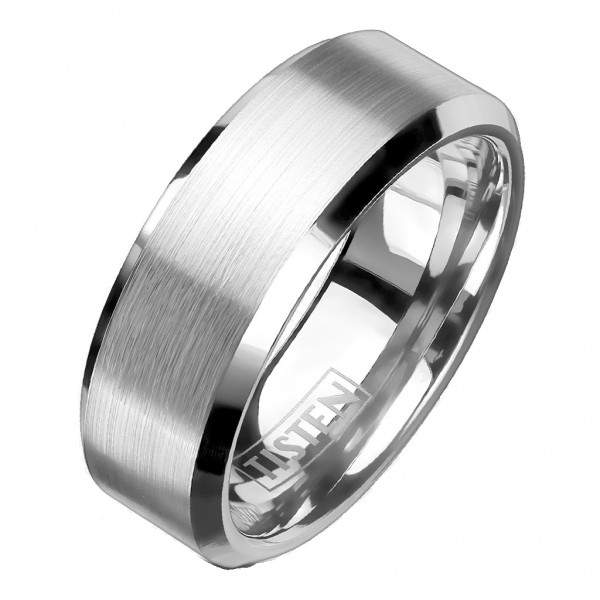 Tapsi´s Coolbodyart®| Fingerring Tisten Tungsten Titanlegierung Bandring Zentrum Gebürstet , Rand Ab