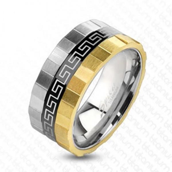 Ring Titan silber gold schwarz 9mm breit Grooved Edge Maze 60 (19) - 66 (21)
