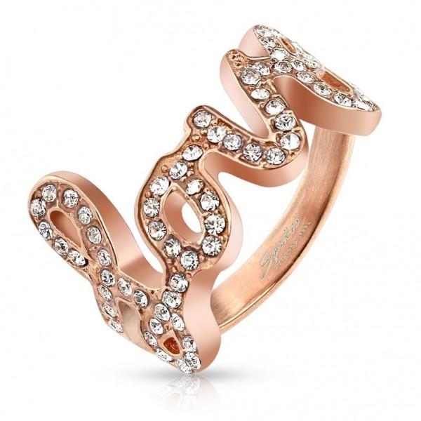 Ring Roségold 16mm breit LOVE mit eingelassenen Steinen 47 (15) - 60 (19)
